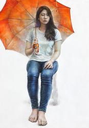 [인물·인체수채화 / 과정작] 흰티, 청바지를 입고 주황색 우산을 든 여성