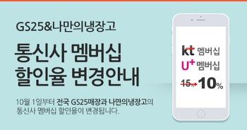 GS25 통신사 제휴멤버쉽 할인율 변경. (ㅠㅠㅠ)