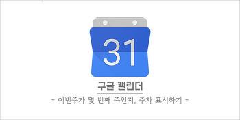 [구글 캘린더 꿀팁] 이번 주가 몇 번째 주인지, 구글 캘린더에 주차 표시하기