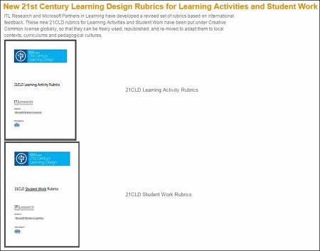 21CLD Learning Activity Rubrics & 21CLD Student Work Rubrics