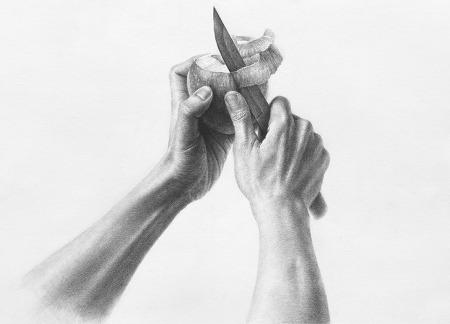 [인체소묘/과정작] 사과를 깎는 손