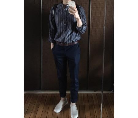 [YuvidLook 옷차림] TNGT 스트라이프 셔츠 및 moins de 백팩 등 옷차림