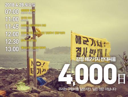 강정 해군기지 반대싸움 4000일
