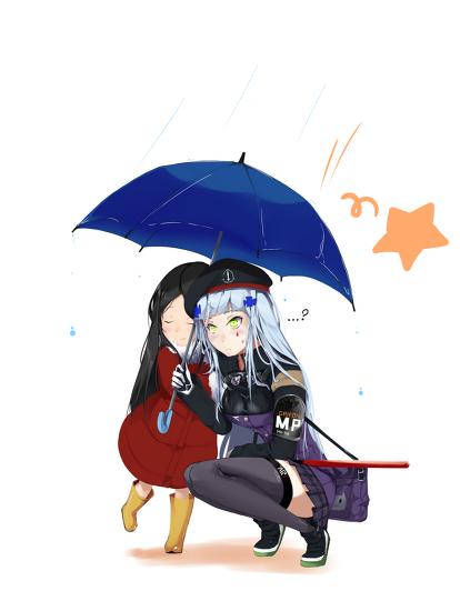 [소녀전선] HK416(흥국)이와 우산쓰는 만화