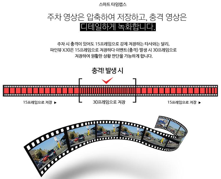 2채널블랙박스추천 파인뷰 X30 하이퍼랩스 기능 지원(주행, 주차녹화)