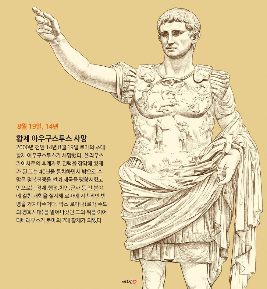 로마 초대황제 아우구스투스 사망