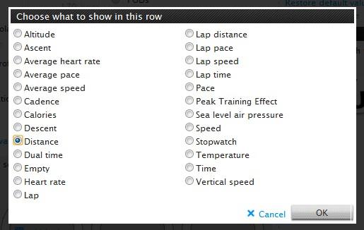 상단, 가운데 보여줄 정보, 1개씩만 선택 가능