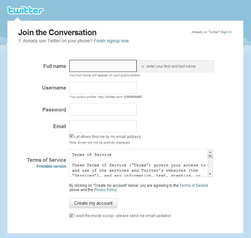 회원가입은 이름(Full name), 아이디(User name), 비밀번호(Password), 이메일(Email)만 입력하면 됩니다.