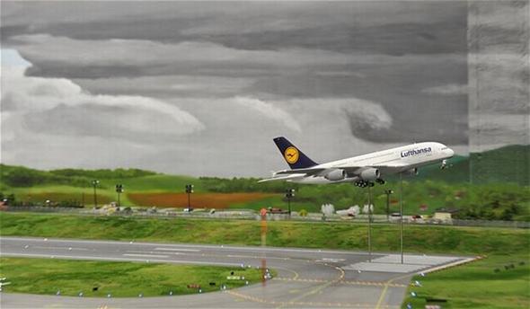 이륙하는 A380 항공기