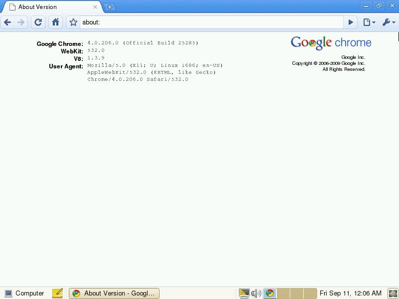 Chrome OS 0.4.207 beta