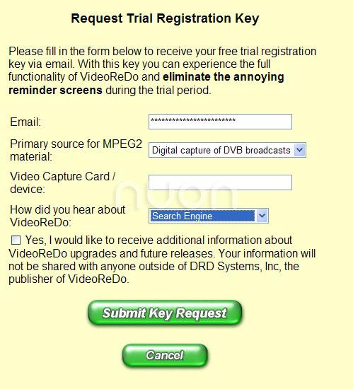 양식을 채우고 Submit Key Request 클릭