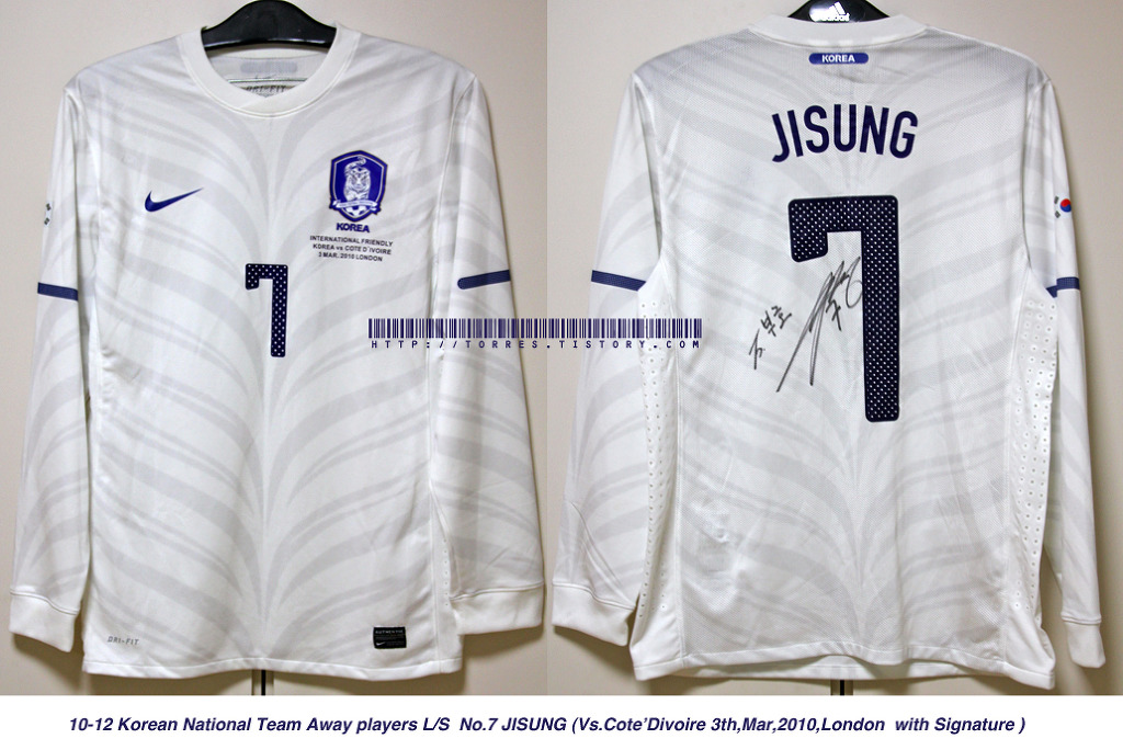 10-12 Korea National Team Away players L/S No.7 Jisung (Vs. Cote D'ivoire ,3rd,Mar,2010,London with Signature)