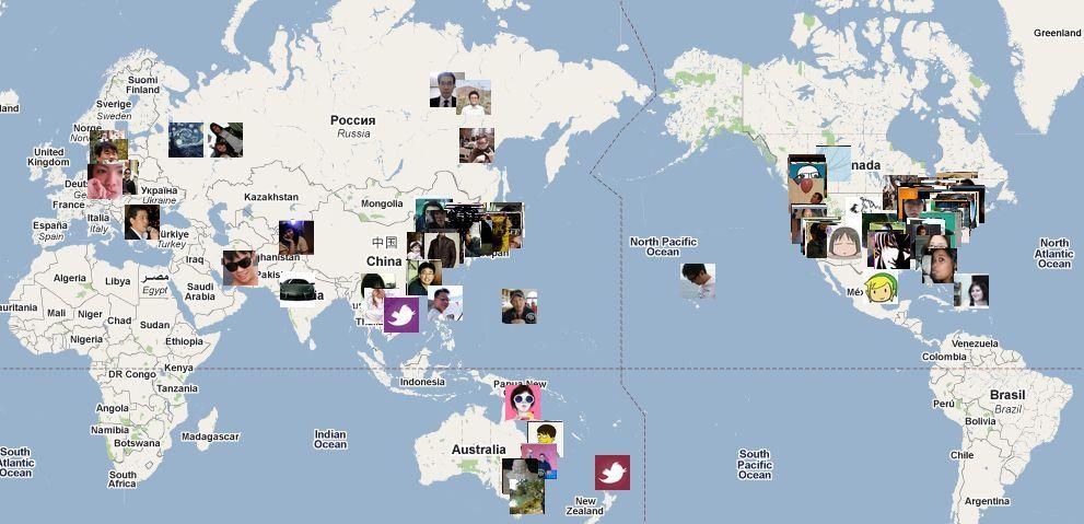 전세계 우리나라 트위터리안 분포