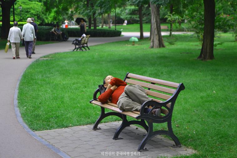 ▲ 인정호(人定湖)공원에서 낮잠을 자는 북경시민
