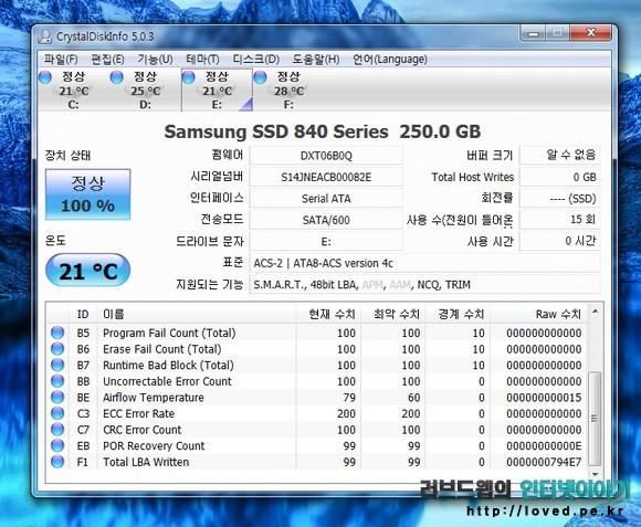 삼성 SSD 840 시리즈 250GB  정보
