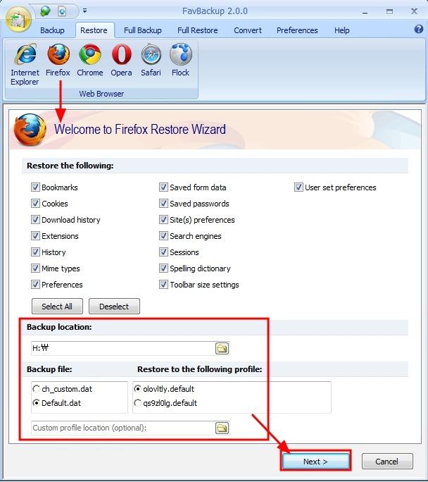 웹브라우저 즐겨찾기, 설정 저장 백업, 복구 유틸 FavBackup - 익스플로러, 파이어폭스, 크롬등
