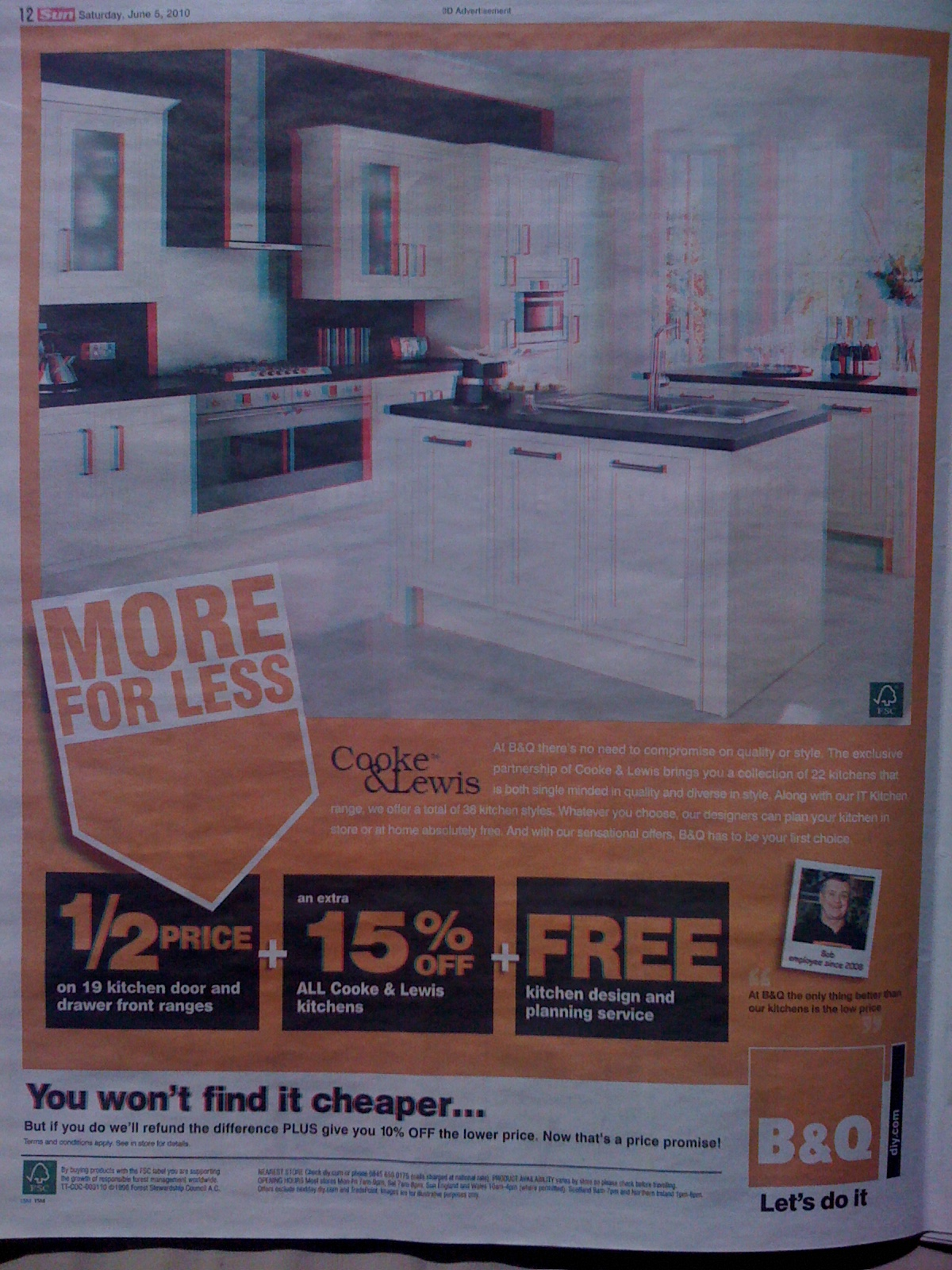 3D Advert of B&Q on 3D Edition of The Sun