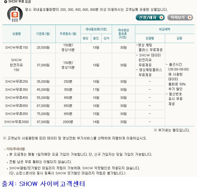 """SHOW 사이버고객센터의 """"SHOW 무료 요금""""에서 화면 캡처"""