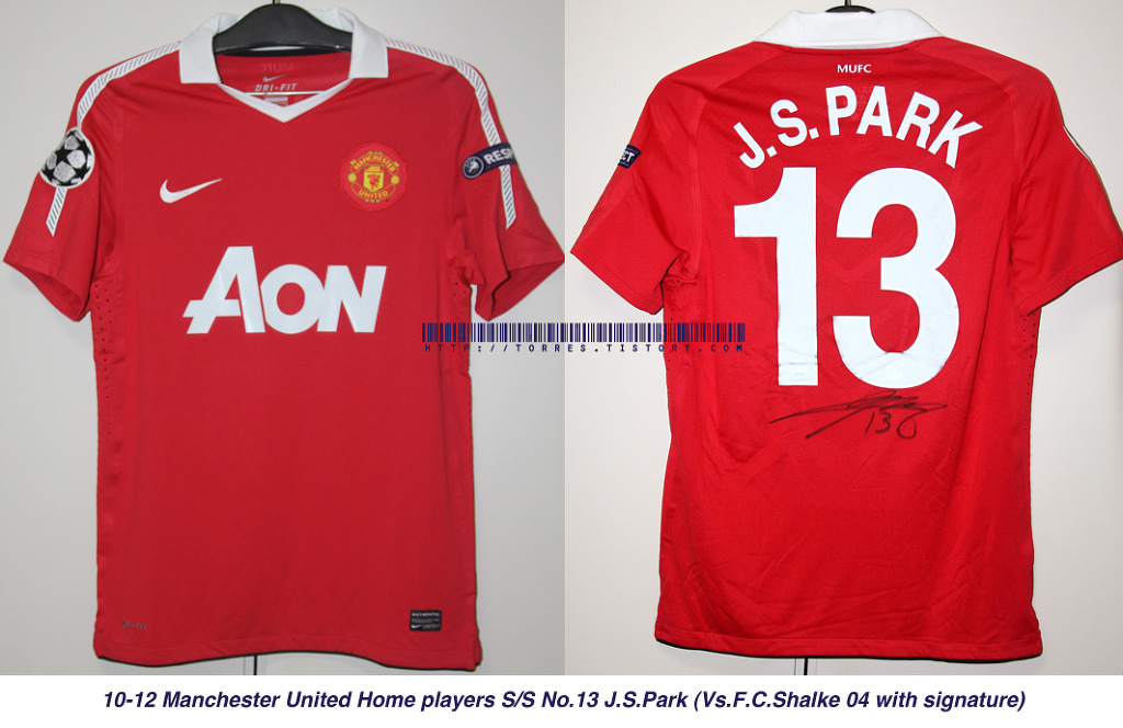 10-11 Manchester United Home players S/S No.13 J.S.PARK (UEFA Champions League with Signature)
