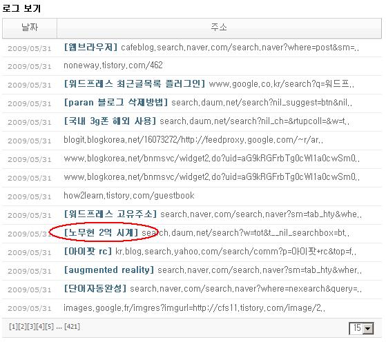"""블로그의 유입 경로 예 """"노무현 2억 시계"""""""