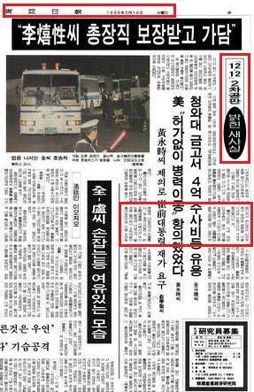 동아일보 1986년 3월 19일자 3면 - 박근혜 전두환에게 3억 전달