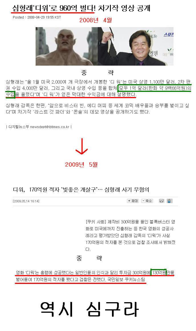 주객님의 글 심형래 감독, 요번에도 언론플레이!! @ 2009/05/17 01:02에서 발췌