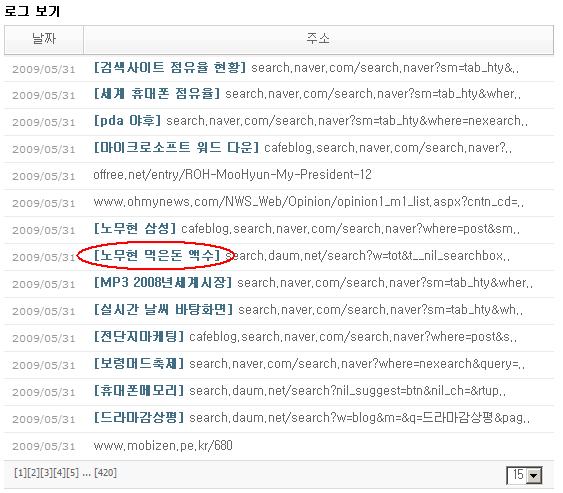 """블로그의 유입 경로 예 """"노무현 먹은돈 액수"""""""