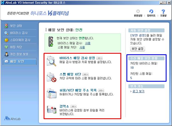 하나포스 V3 플레티넘 메일 보안 스팸 메일 차단
