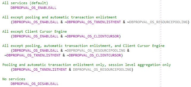 OLE DB Provider Options - Bitwise 연산 예제