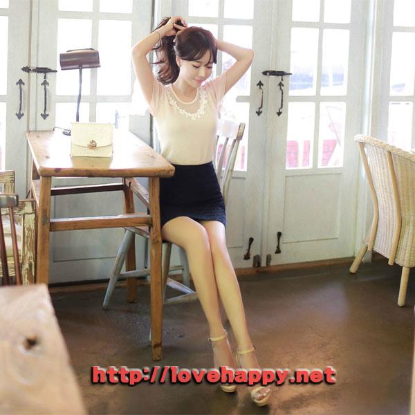 여성패션 티셔츠 넥라인 플라워 레이스 004