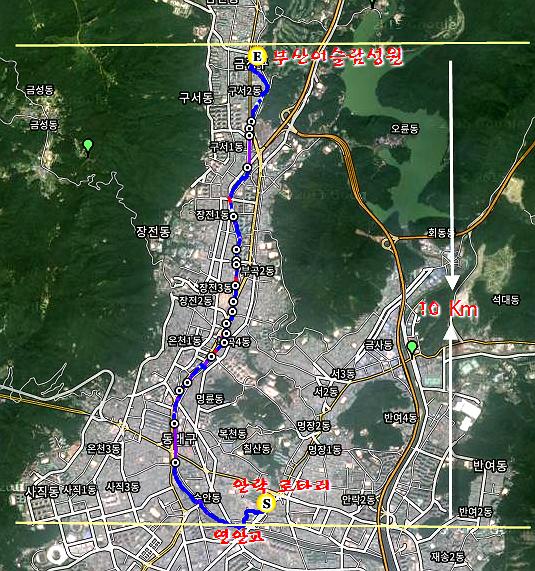 온천천 길걷기 GPS 지도