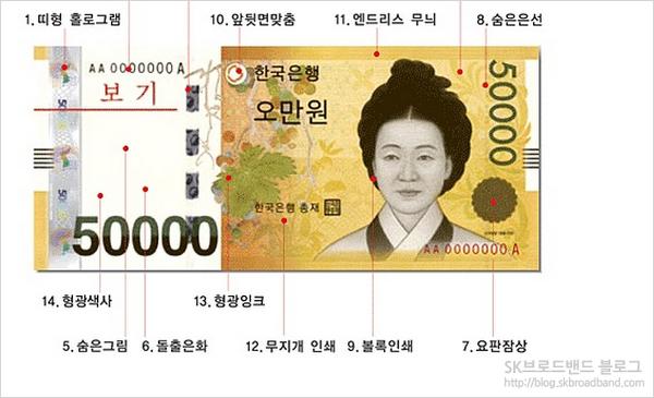 오만원권 지폐 이미지