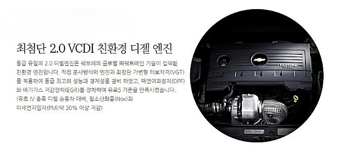 쉐보레 크루즈 2.0 VCDI 친환경 디젤 엔진 안내문