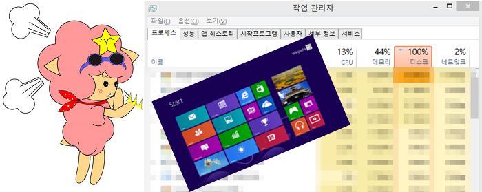 윈도우8,10 디스크점유율 100%