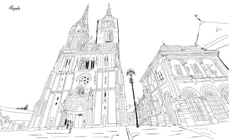 펜 스케치 자그레브 대성당
