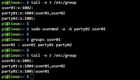 리눅스 사용자 그룹 추가 usermod