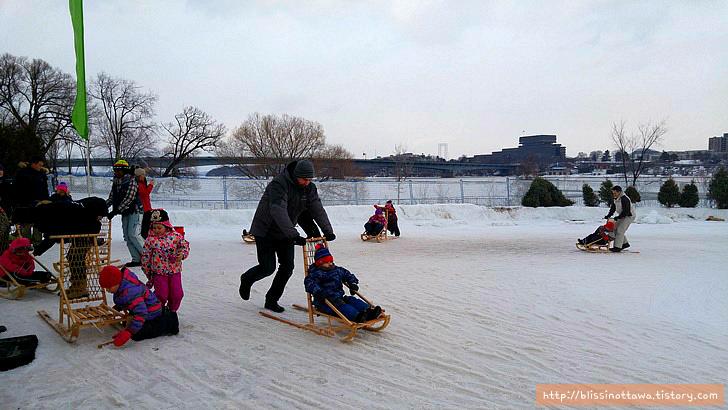 캐나다 겨울 축제 오타와 윈터루드 winterlude 썰매 타기
