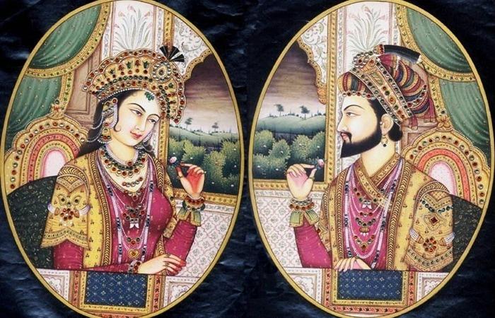 사진: 인도 타지마할의 두 연인. 무굴제국의 샤 자한 황제와 문타즈 마할이라고 불리운 바누 베굼. [인도의 타지마할 뜻 : 마할의 왕관]