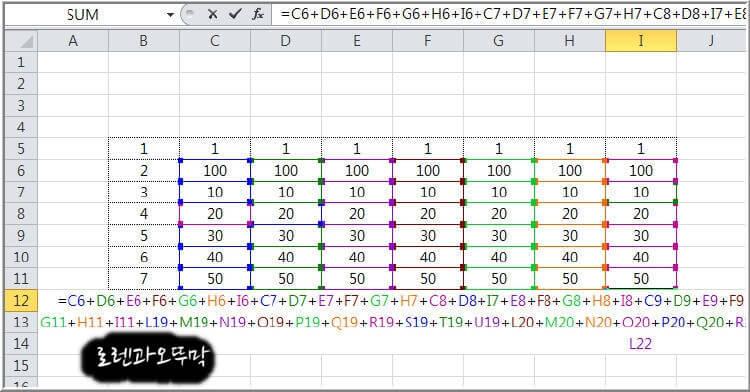 엑셀 더하기 '+'와 'sum'의 차이점3