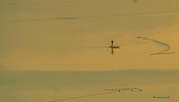 어부와 오후의 호수풍경