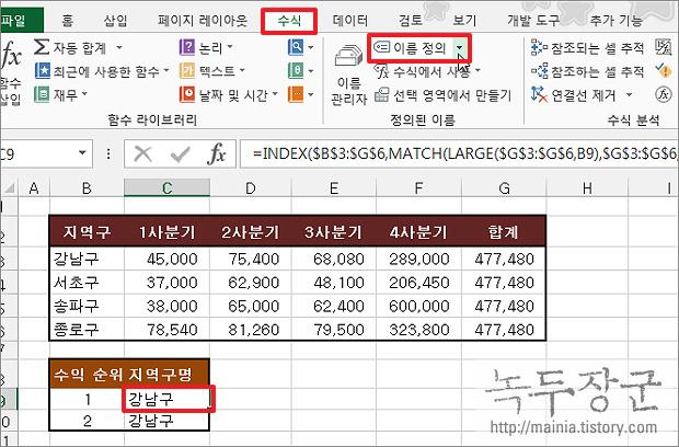 엑셀 Excel 이름 정의, 수식에 이름을 붙여서 쉽게 찾아 가는 방법