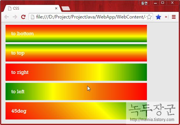 스타일 시트 CSS gradient 종류 중 linear-gradient 그라데이션 적용하는 방법