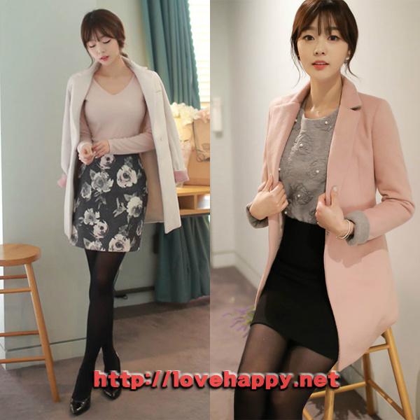 여성패션 코트 카라 뒷면과 소매배색이 돋보이는 001