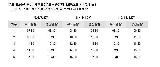 종달항 시간표