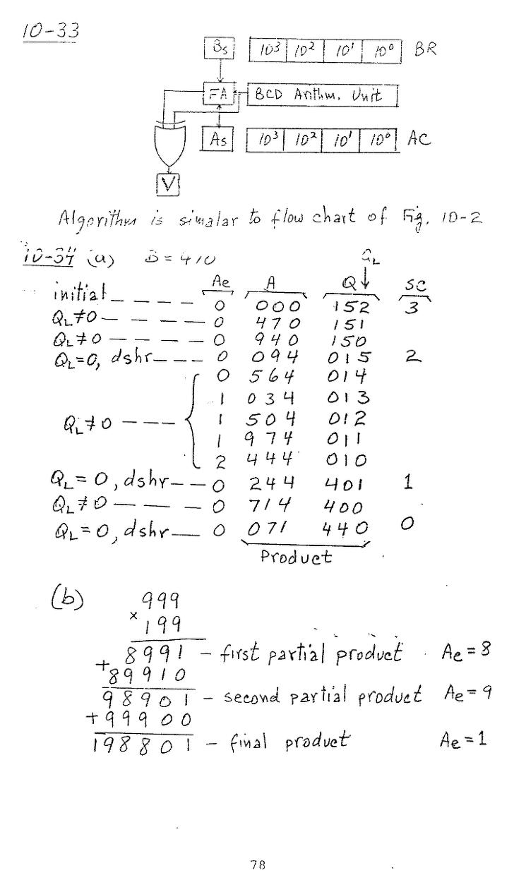 컴퓨터구조 연습문제, 모리스 마노 챕터10 78