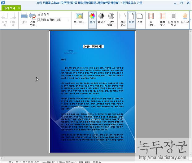한컴오피스 한글 문서 표시에 배경 그림 넣는 방법