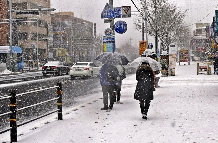 부산에 눈오는날