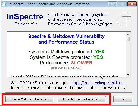 Inspectre 멜트다운 스펙터 확인 프로그램