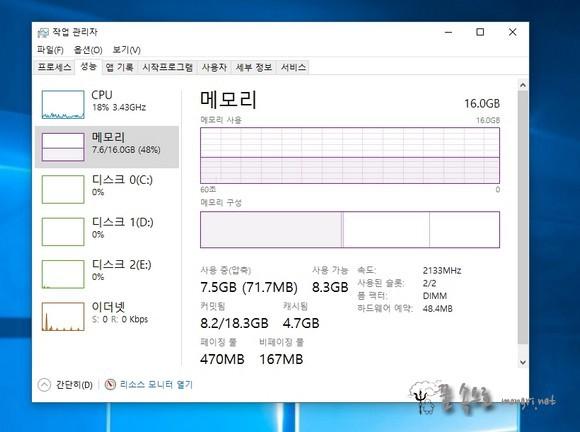 윈도우10 메모리