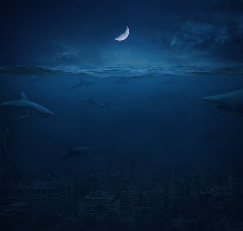 포토샵에서 물에 잠긴 도시 장면 만드는 방법